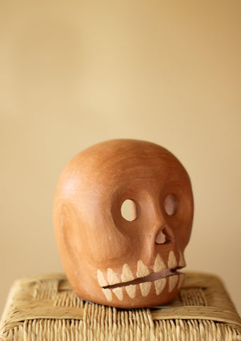 Barro Natural Skull Candle Holder