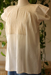 La Xantal Cotton Embroidered Blouse - Natural
