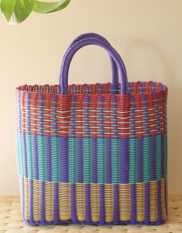Colorful woven tote - Purple