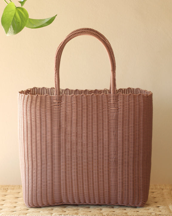 Woven Plastic Tote - Taupe