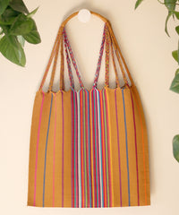 Las Rayas Tote - Gold with Rainbow Stripe