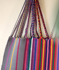 Las Rayas Tote - Grey with Rainbow Stripe