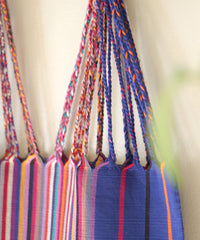 Las Rayas Tote - Cobalt with Rainbow Stripe