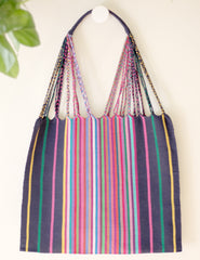 Las Rayas Tote - Navy with Rainbow Stripe