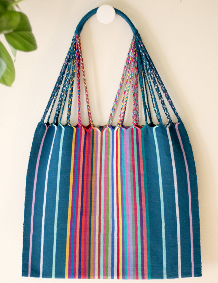 Las Rayas Tote - Verdoso with Rainbow Stripe