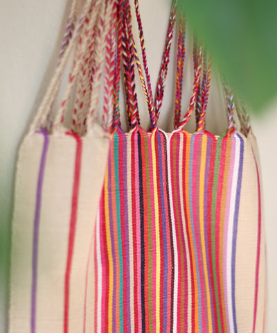 Las Rayas Tote - Natural with Rainbow Stripe