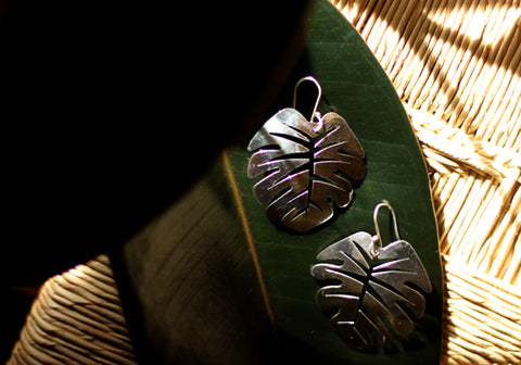 Silver Earrings from Taxco - Monstera Leaf