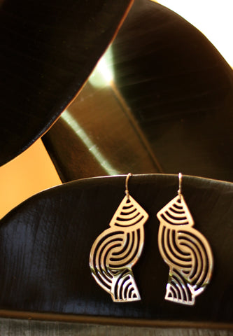 Silver Earrings from Taxco - Geometric