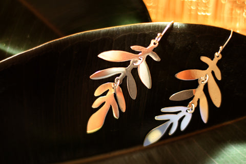 Silver Earrings from Taxco - Tropical Leaf