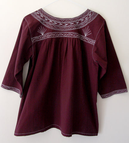 Santo Domingo Blouse 3/4 Sleeve Burgundy -SALE- 50% OFF