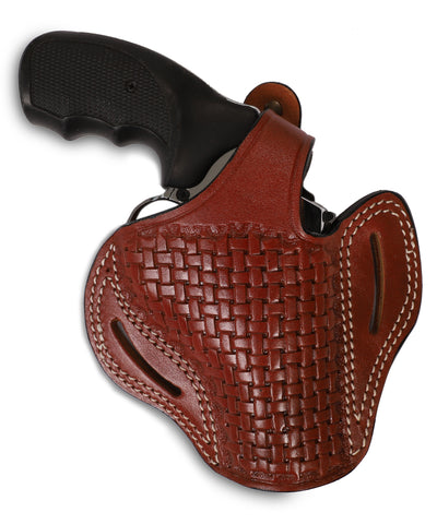 Charter Arms 357/38 Leather Basket Weave OWB 3 Holster, Pusat Holster