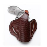 Smith Wesson Model 60 Leather OWB 3 BBL Basket Weave Holster, Pusat Holster