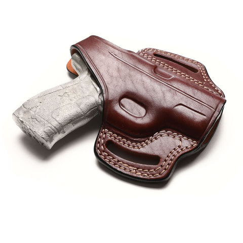 Springfield XD-E 9MM, 45 ACP Leather OWB 3.3 inch Holster, Pusat Holster