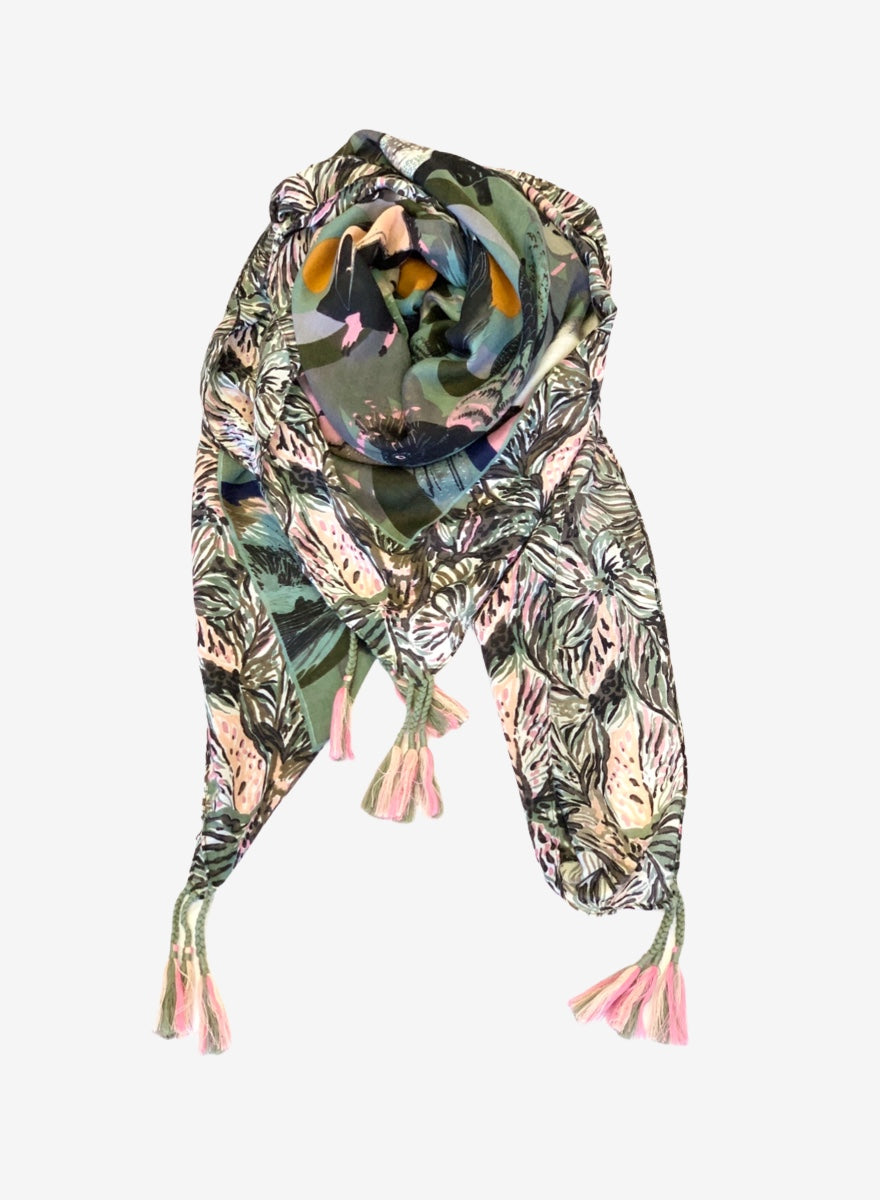Feathered Friends Boho Scarf - Sage