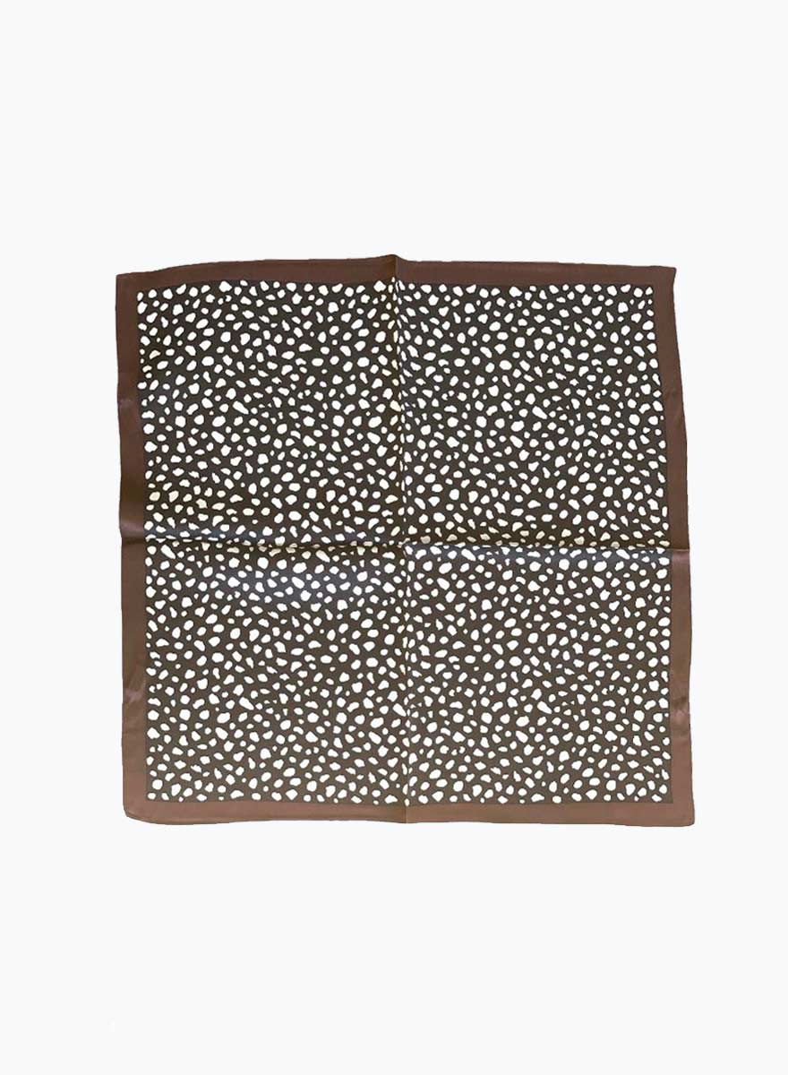 Chica Cheetah 100% Silk Scarf - Black/Chocolate
