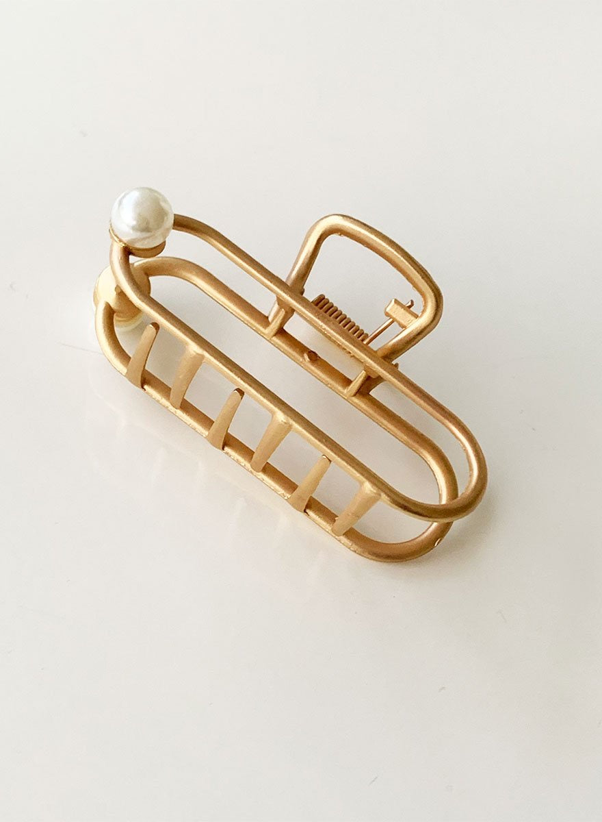 Gold Metal Hair Claw - Pearl