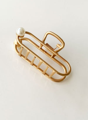 Open image in slideshow, Gold Metal Hair Claw - Pearl
