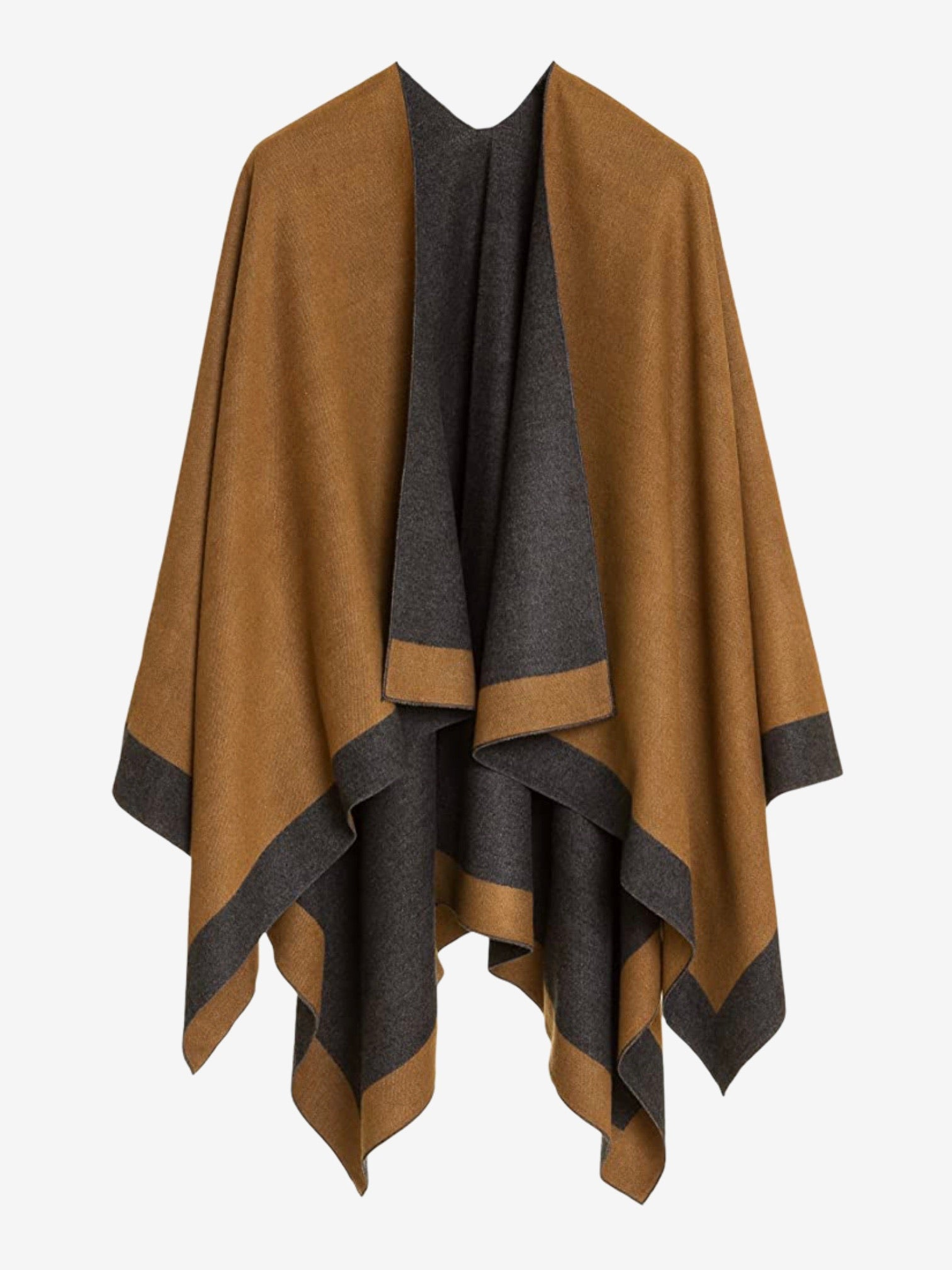 Reversible Cape - Camel & Charcoal