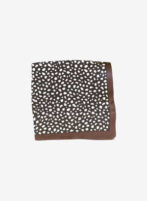 Chica Cheetah Silk Neck Scarf - Black/Chocolate