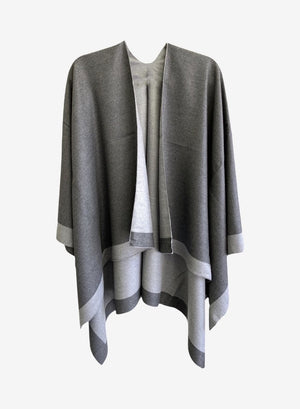 Open image in slideshow, Reversible Cape - Grey & Light-Grey