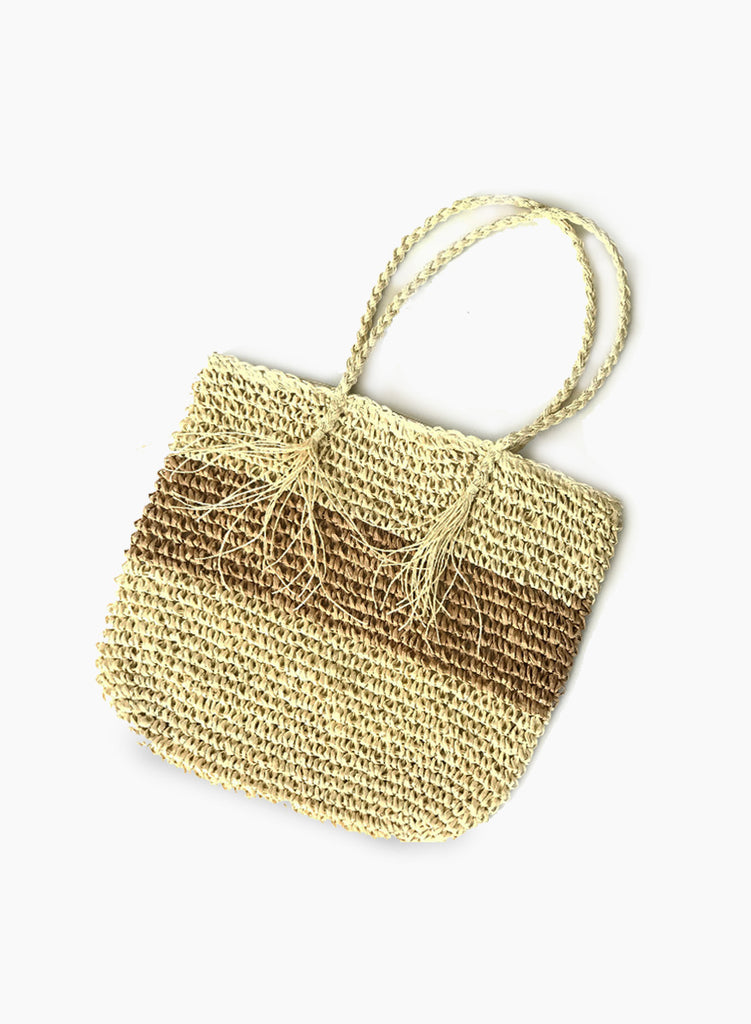 Striped Straw Tote Bag - Tan