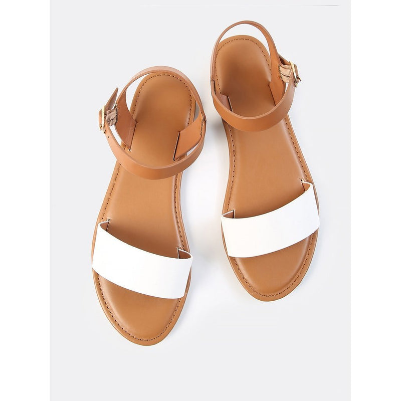 Scalloped One Band Ankle Strap Sandals TAN