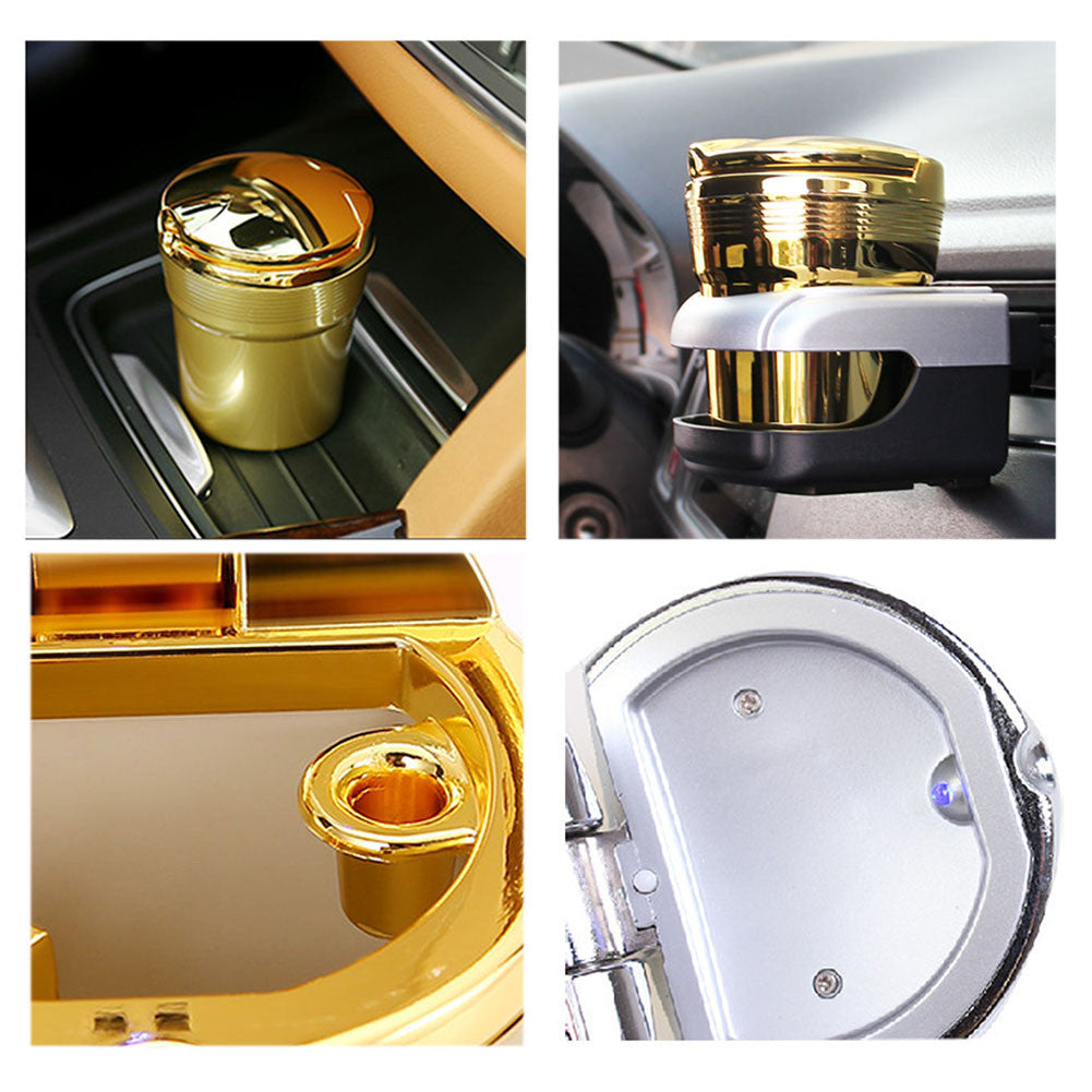 Gold Smokeless Car Ashtray with Blue LED Light