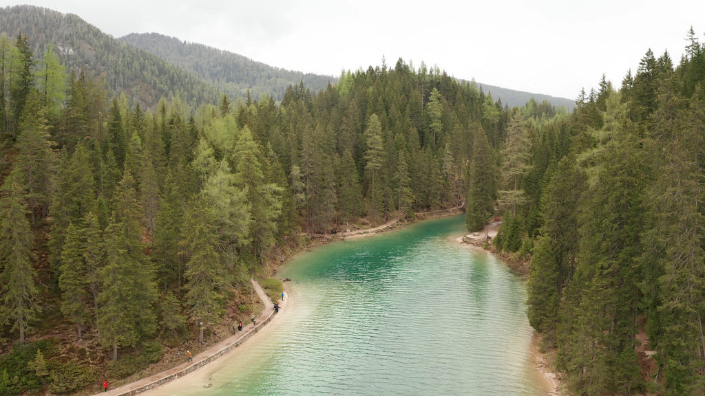 Lago di Braies Dolomites Aerial Video - 4K Stock Footage - Item #204