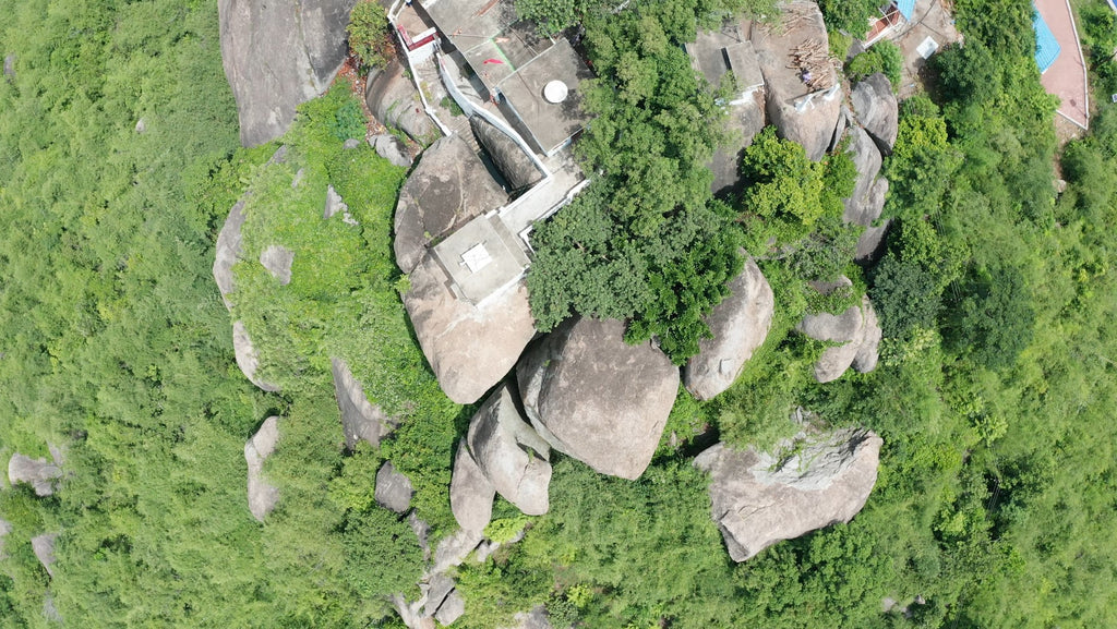 Balakumari Temple Viewpoint - Aerial Video - 4K Stock Footage - Item #130