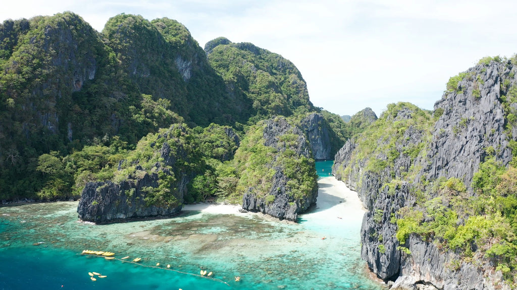 Big Lagoon EL NIDO PHILIPPINES Aerial Video - 4K Stock Footage - Item #236