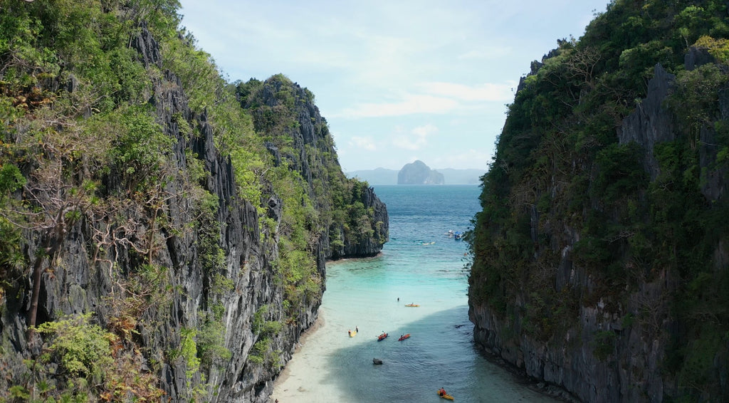 Small Lagoon EL NIDO PHILIPPINES Aerial Video - 4K Stock Footage - Item #243