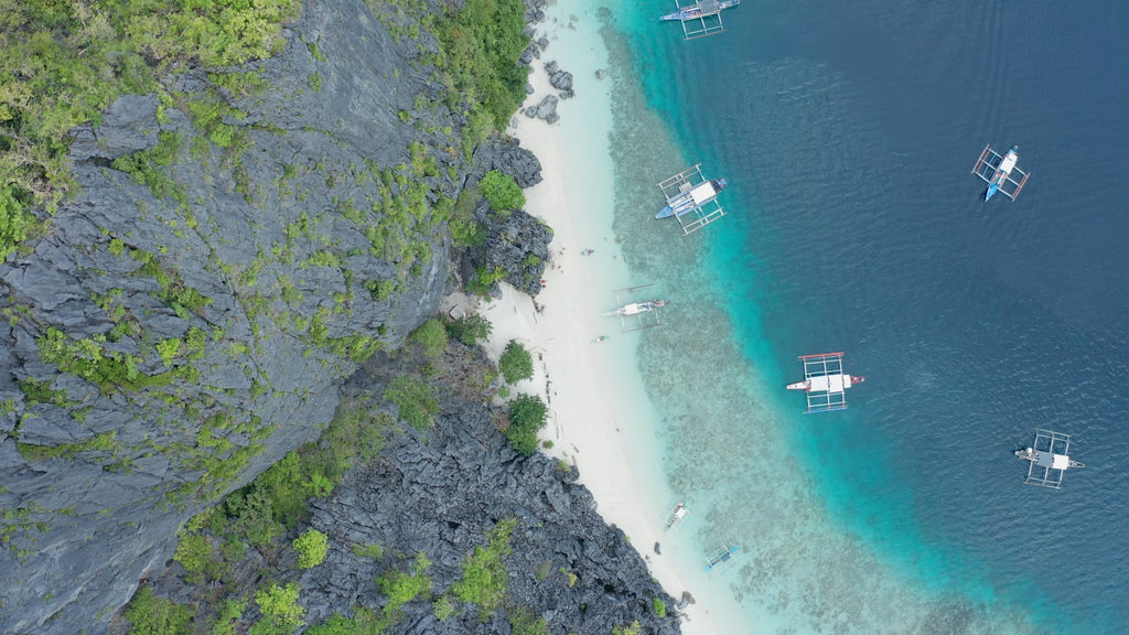 Matinloc Shrine EL NIDO PHILIPPINES Aerial Video - 4K Stock Footage - Item #249