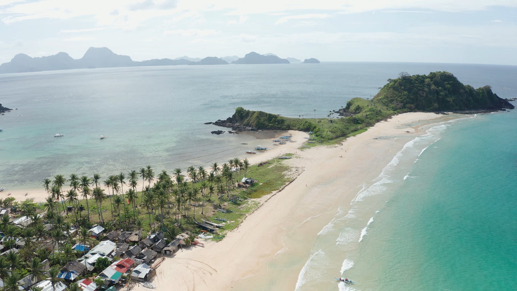 Nacpan Beach EL NIDO PHILIPPINES Aerial Video - 4K Stock Footage - Item #270