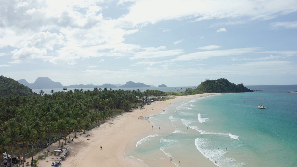 Nacpan Beach EL NIDO PHILIPPINES Aerial Video - 4K Stock Footage - Item #274