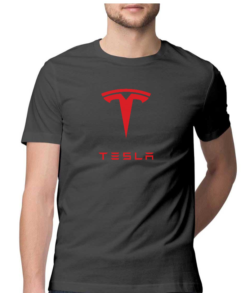 TESLA Logo with Text Half Sleeve Tee - Charcoal Grey - XXL
