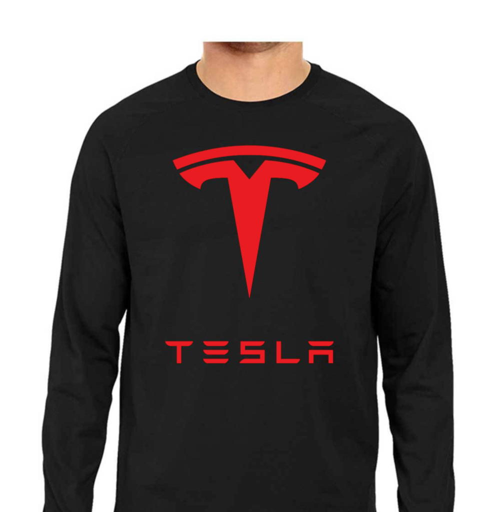 TESLA Logo with Text Full Sleeve Tee - Black
