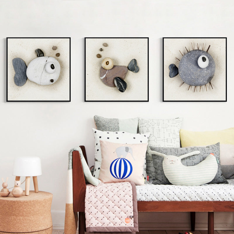 07g Abstract 3d Stone Fish Canvas Art Painting Print Poster Pictures Wall Office Baby Room House Home Decoration Murals Gift