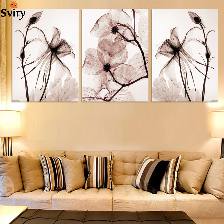 3 Pcs Hot sell Transparent flowers canvas painting Modern Home ...