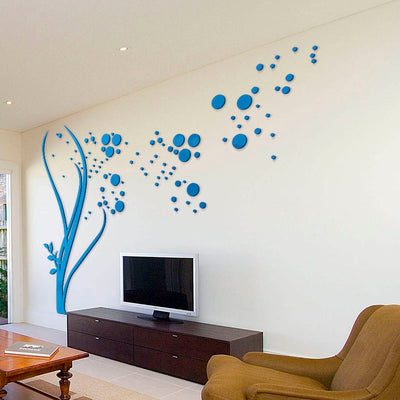 3d large size round dots tree wall stickers home decor living room