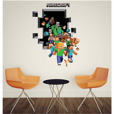 3D Minecraft Wall Stickers For Kids Room Wallpaper Home Decoration Accessories Art Game Enderman Sticker