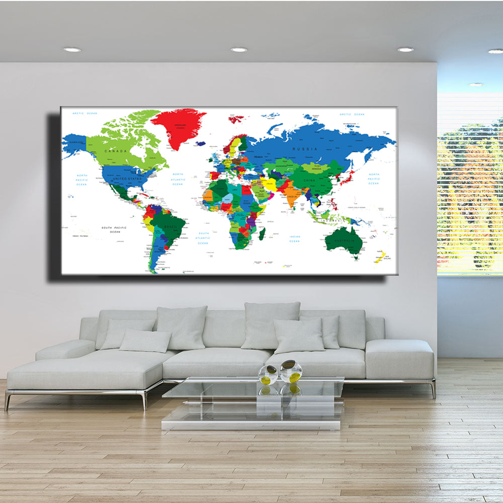Abstract World Map Poster,Modern Style travel large world Colorful Map map  Canvas painting, home decoration, Unframed LZ861