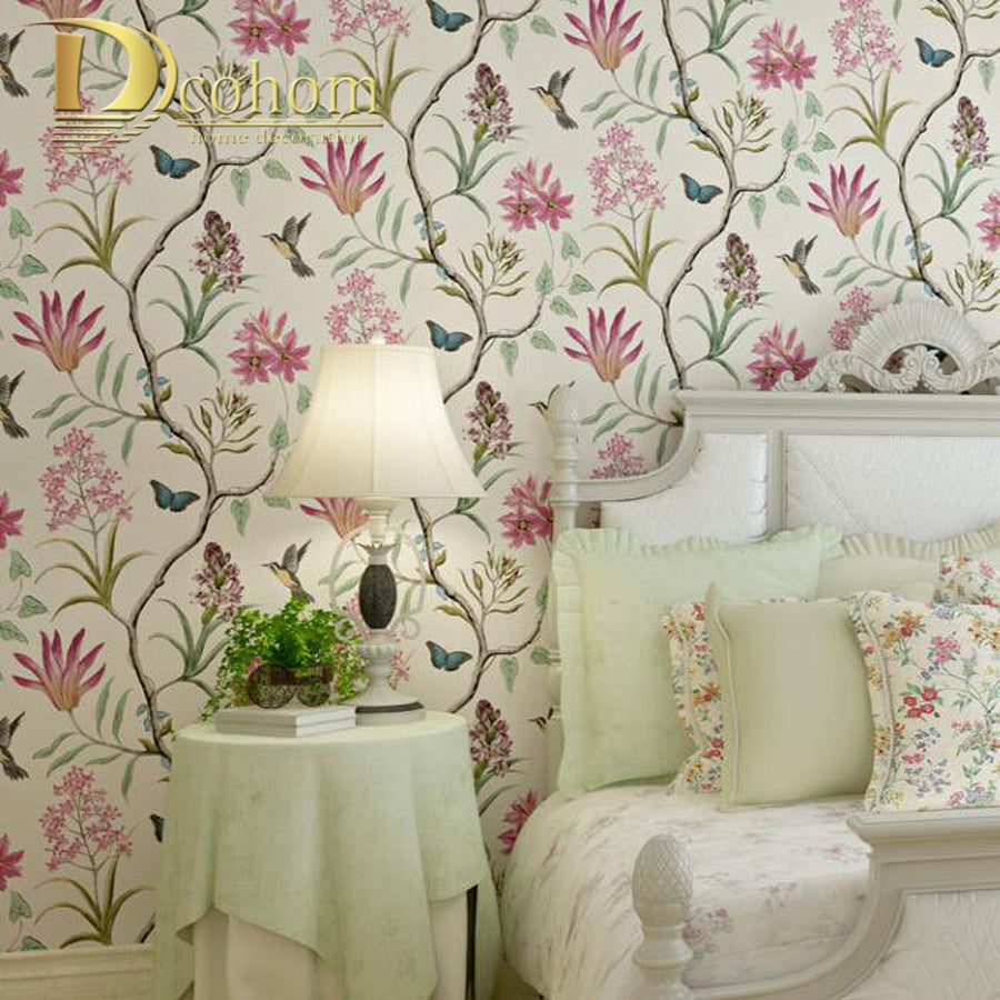 American Rustic Floral Bird Wall Paper Rolls For Walls Vintage