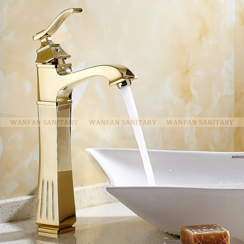 Basin Faucets Antique Brass Gold Color Faucet Tall Bathroom Faucet ...