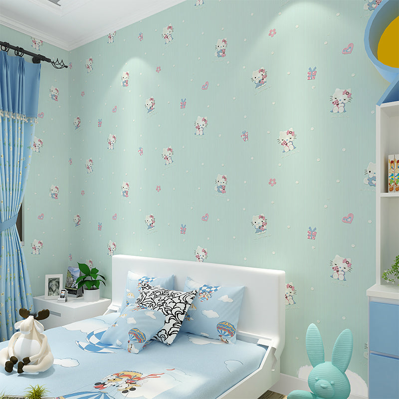 Cartoon Cat Wallpaper for Children\'s Room Boys Girls Bedroom Wall  Decoration Pink Blue White Beige 3D Non-woven Wall Paper Roll