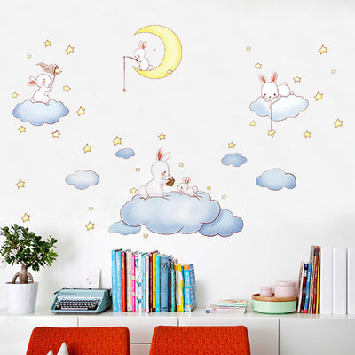 Cartoon White Clouds Rabbit Wall Stickers For Kids Rooms Baby ...