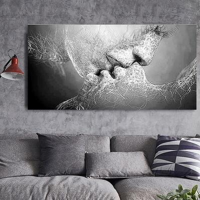 Creative Black White Love Kiss Abstract Art On Canvas Painting Wall