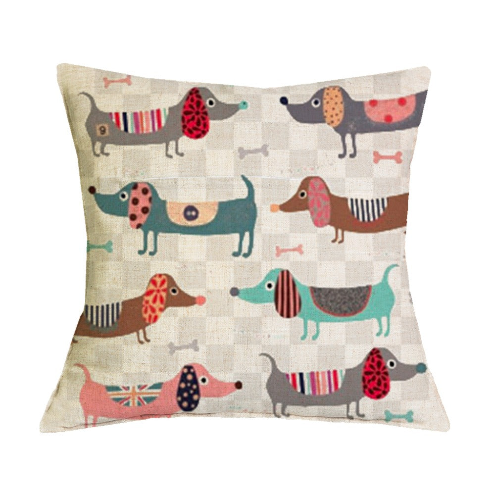 """Dachshund Dog Cushion Cover Great Colours Patchwork Sausage Dog 16/""""  Pillow"""