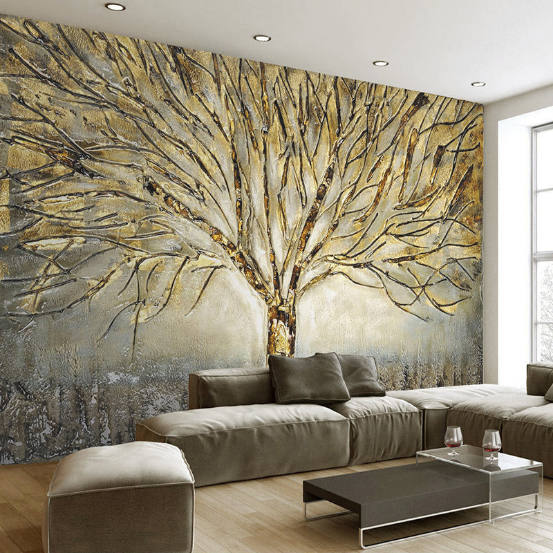 Custom 3d Wall Murals Wallpaper Modern Fashion Abstract Art Relief Oil Painting Tree Living Room Tv Background Mural Wall Paper