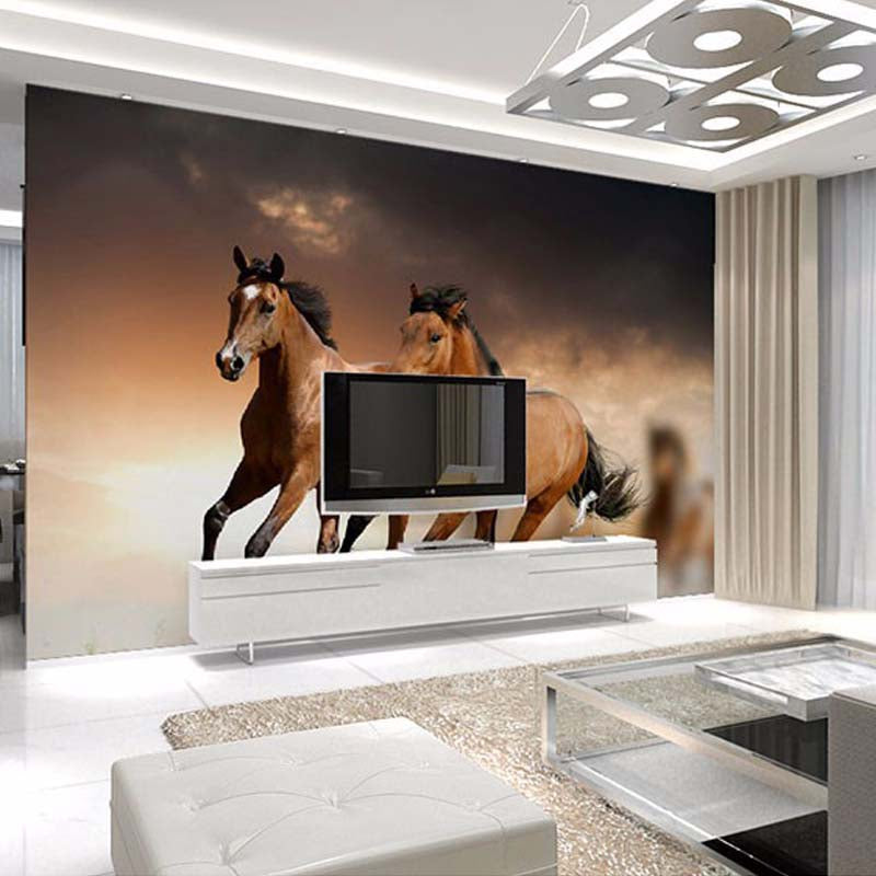 Custom Any Size 3d Horse Racing Wall Mural Wallpaper For Living