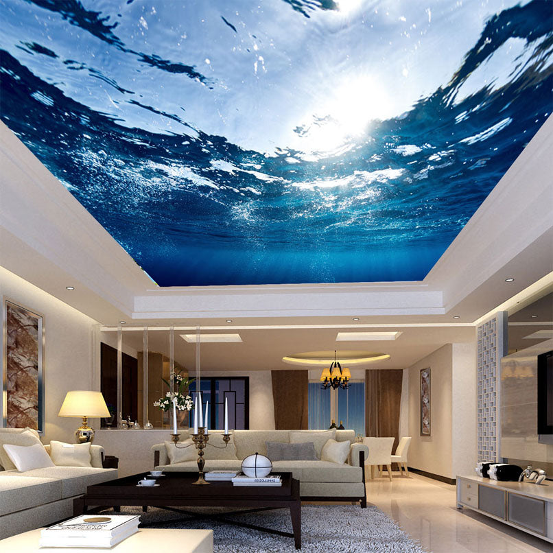 custom any size 3d mural wallpaper underwater world suspendedcustom any size 3d mural wallpaper underwater world suspended ceiling fresco living room bedroom ceiling wall papers home decor